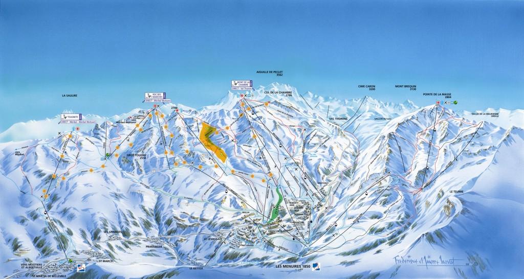 plan des pistes de ski les menuires